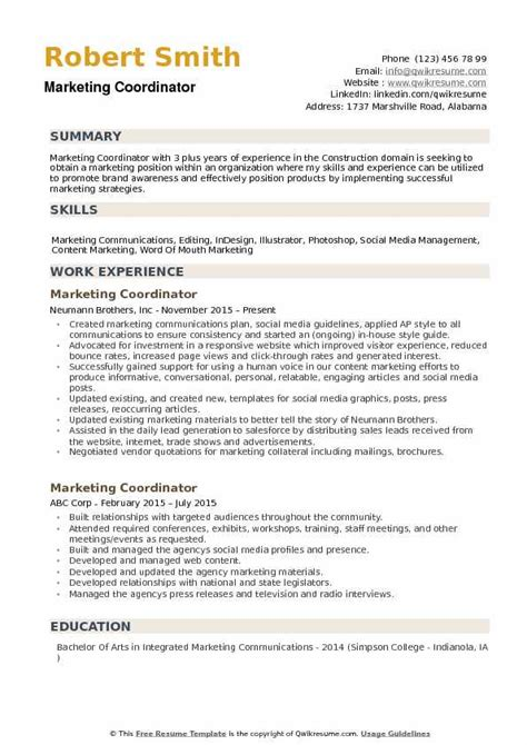 Marketing Coordinator Resume by Marketing Coordinator Resume Exles Vvengelbert Nl