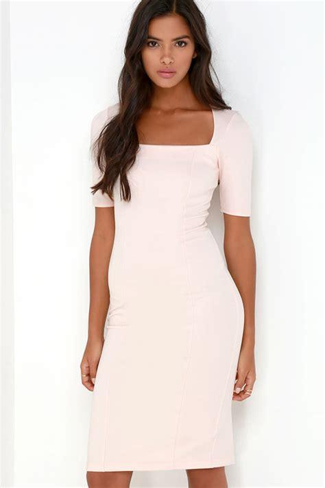 light pink bodycon dress light pink dress midi dress bodycon dress 46 00