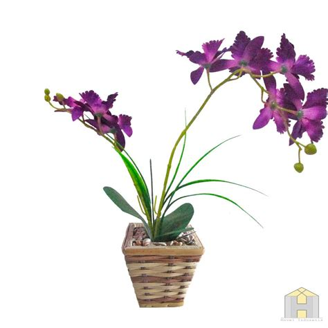jual bunga anggrek artificial dendrobium ungu  lapak