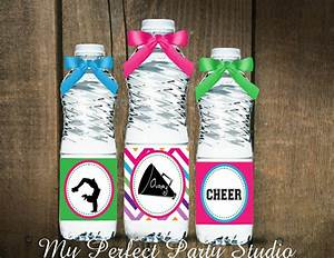 cheerleading themed personalized printable water bottle labels With cheerleader water bottle labels