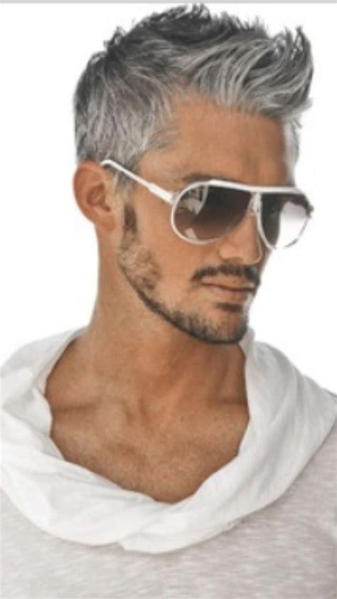 handsome gray haired man mens hair pinterest