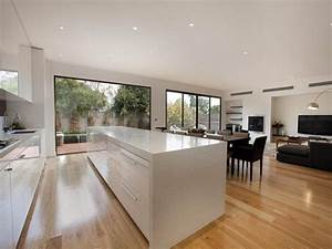 Modern kitchen-dining kitchen design using floorboards