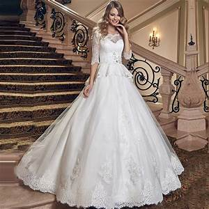 2016 peplum ruched lace princess ball gown wedding dress 3 With 3 4 sleeve ball gown wedding dress