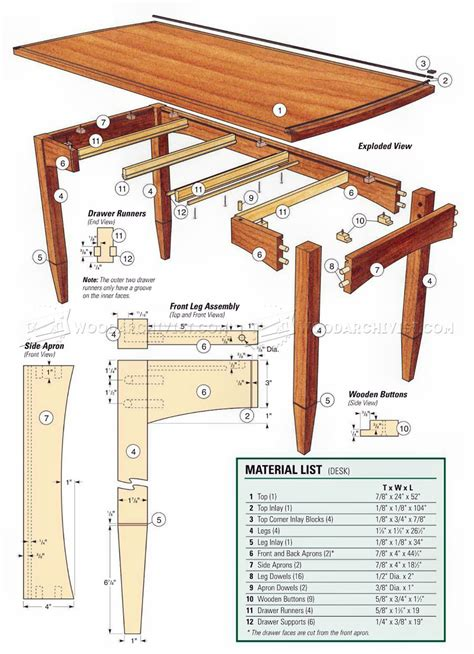 drawered desk plans woodarchivist