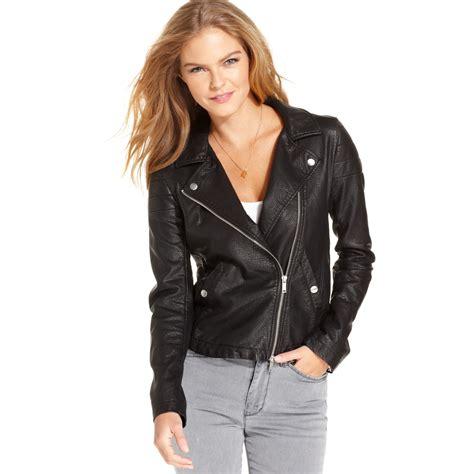 lyst calvin klein jeans fauxleather moto jacket in black