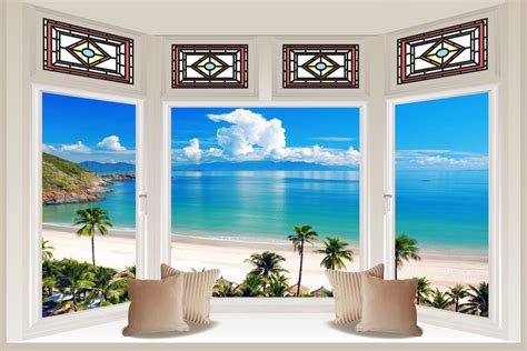 3d Window Ocean View Blue Sea Home Decor Wall Sticker: Huge 3D Bay Window Exotic Ocean Beach View Wall Stickers