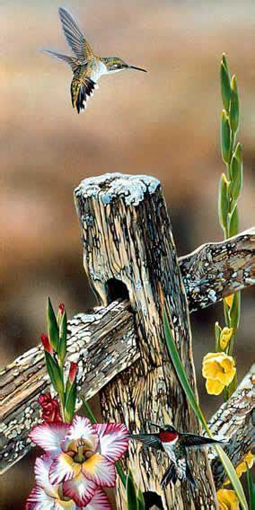 Garden Hummers Acrylic Painting Wildlife Artist