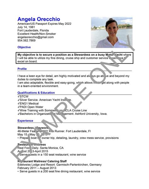 Boat Stewardess Resume by Build Your Cv To Perfection Savvy Stewardess