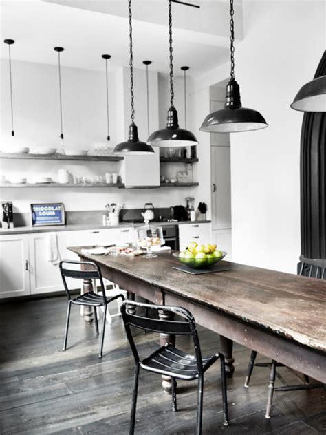 grande table cuisine maison renovee york cuisine style industriel parquet