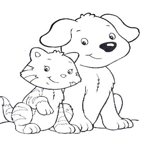 coloring pages dog  cat printable cute pictures  print color litle pups