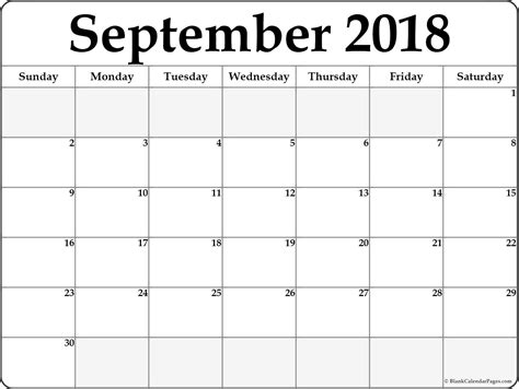 calendar template september september 2018 free printable blank calendar collection