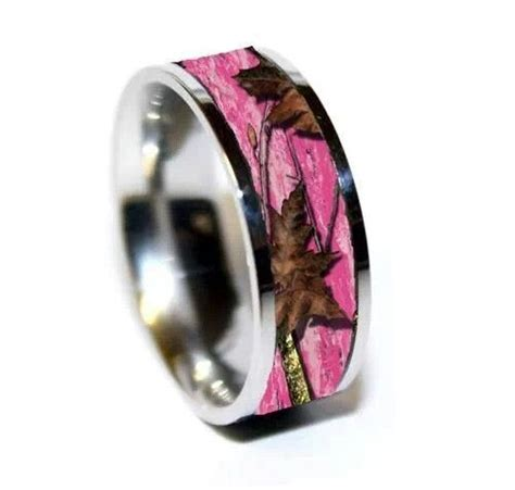 pink mossy oak wedding ring camo wedding bands camo wedding rings custom wedding rings