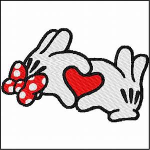 Mickey Minnie Mouse Heart Love Hands Embroidery Design