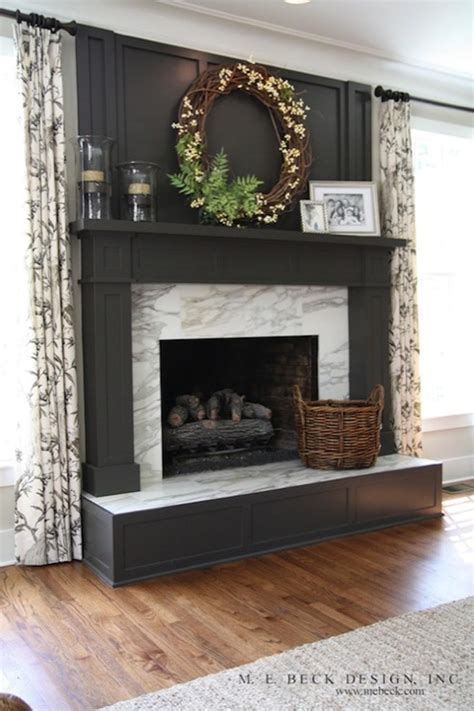 Gray Fireplace Mantle Transitional living room M. E. Beck Design