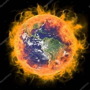 Real Earth Planet in space. In red fire. — Stock Photo ...