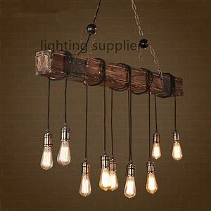Loft style creative wooden droplight edison vintage for Hanging light fixtures for dining rooms