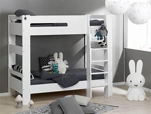 Lit Superposé Blanc : lit superpos enfant london blanc 90x190 2 lits s parables ~ Teatrodelosmanantiales.com Idées de Décoration