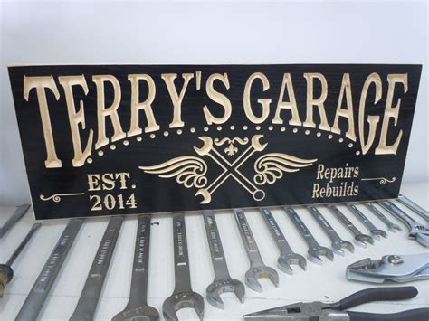 Custom Garage Sign by Personalized Garage Sign Custom Made Business Carved Wooden