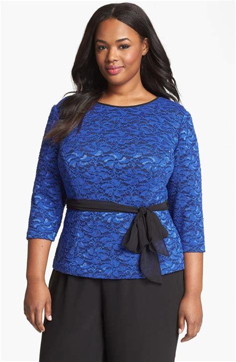 plus size lace blouse alex evenings belted lace blouse plus size