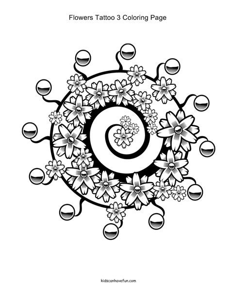 Swirly Flowers and Leaves Tattoo Coloring Pages