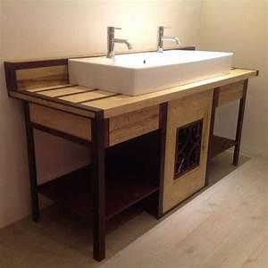 mobilier fer et bois salle de bain realise par 2 bois et With mobilier salle de bain bois