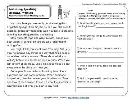 listening speaking reading writing 2nd grade reading comprehension worksheets