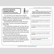 Listening, Speaking, Reading, Writing  2nd Grade Reading Comprehension Worksheets