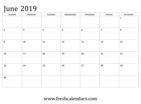 blank june calendar printable templates