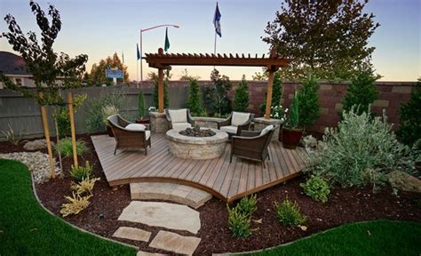 Backyard Pit Landscaping Ideas by Backyard Corner Deck With Pit And Landscaping