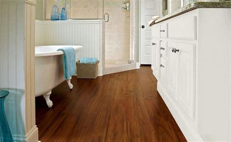 Bathroom With Waterproof Laminate Flooring Kitchen Corner Cabinet Storage Ideas Personalized Accessories Modern Countertop Chef Decor Containers Uk Little Tikes Country Replacement Parts Small French Kitchens And Bath
