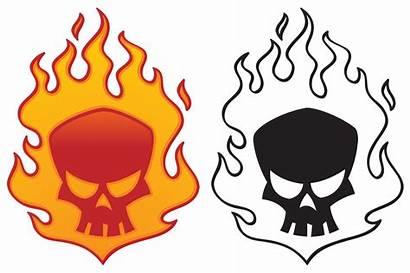 Skull Flaming Cool Clipart Clip Fire Vector