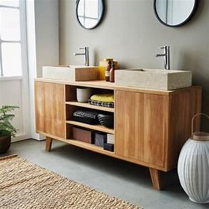 Salle De Bain En Bois : meuble de salle de bain en bois de teck 160 2 portes 3 niches bois dessus bois dessous ~ Teatrodelosmanantiales.com Idées de Décoration