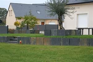 soutenement et bac en palis ardoise contemporain With superior idee deco jardin contemporain 4 bac en palis ardoise avec olivier contemporain jardin