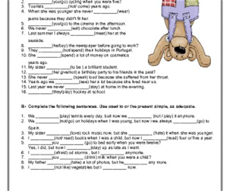 Used To  Didn't Use To Elementary Worksheet