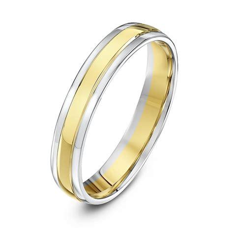 9kt white yellow gold court 4mm wedding ring