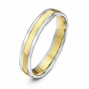9kt white yellow gold court 4mm wedding ring With yellow and white gold wedding ring