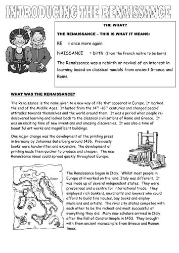 introduction to the renaissance by tiddlypoohsmum teaching resources tes
