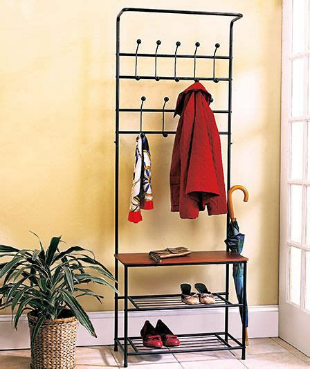 Entryway Benches With Storage And Coat Rack - metal entryway bench with wood seat shoe coat rack