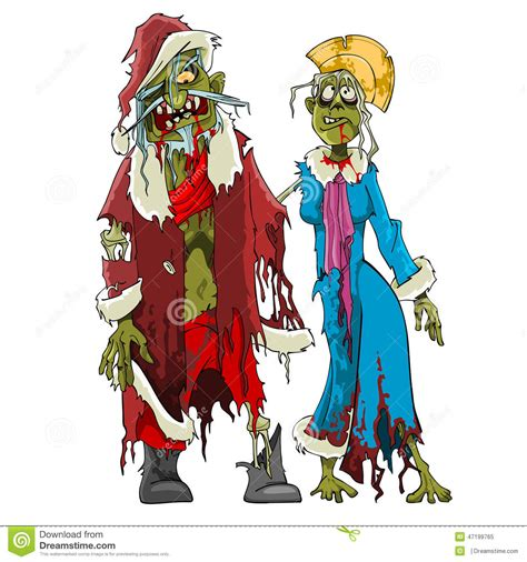Santa Claus With Maiden In Bright Clothes Stock Santa Claus And Maiden Zombies Stock