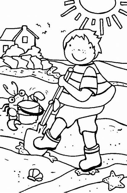 Coloring Pages Holiday Beach Summer Cleaning Line
