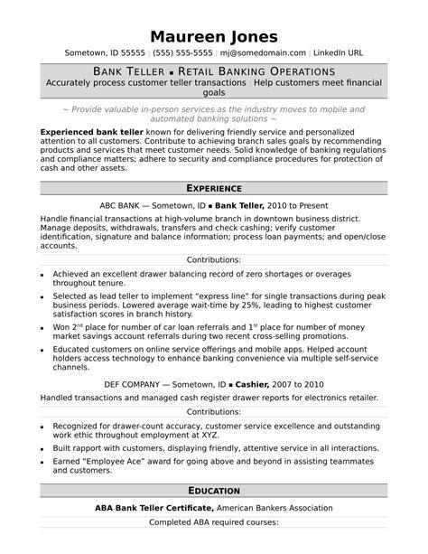 Banking Resumes by Bank Teller Resume Sle