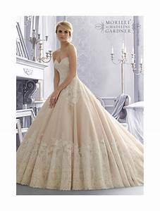 Mori lee 2674 lace ball gown bridal dress ivory for Ivory ball gown wedding dress