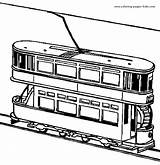 Coloring Pages Transportation Tram Train Printable Trains Sheet Tramway Print Sheets Dubble Template Motor Airplane Transport sketch template