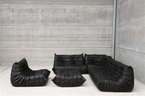 canapé cuir noir but vintage black leather togo lounge set by michel ducaroy