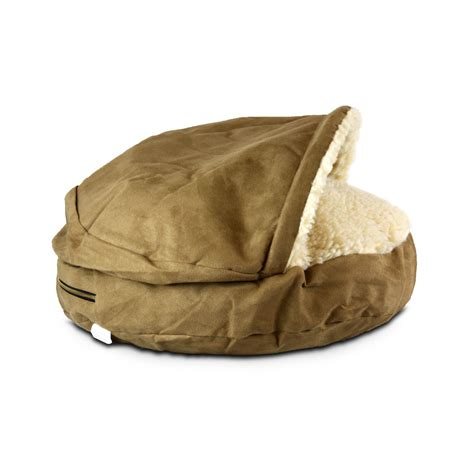 snoozer luxury orthopedic cozy cave pet bed in camel