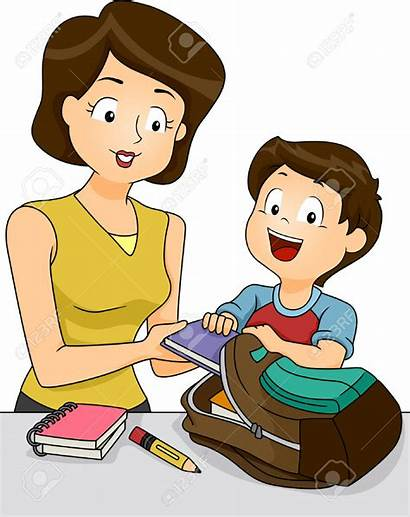 Clipart Mother Helping Son Preparing Things Clip