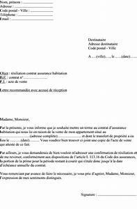 Lettre De Résiliation Edf : mod le de lettre r siliation assurance habitation vente d un appartement ~ Maxctalentgroup.com Avis de Voitures