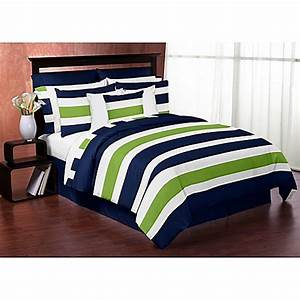 Sweet Jojo Designs Blue and Lime Green Stripe 3 Piece King