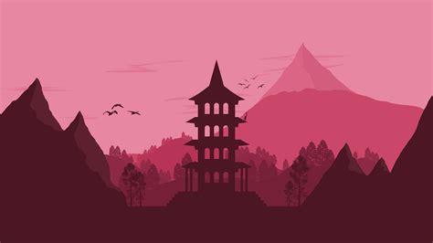 japan landscape vector minimalist  hd artist