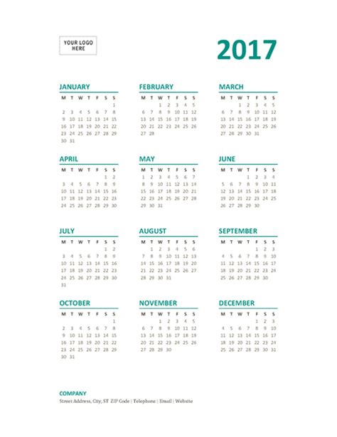 2017 Calendar Year at a Glance Template